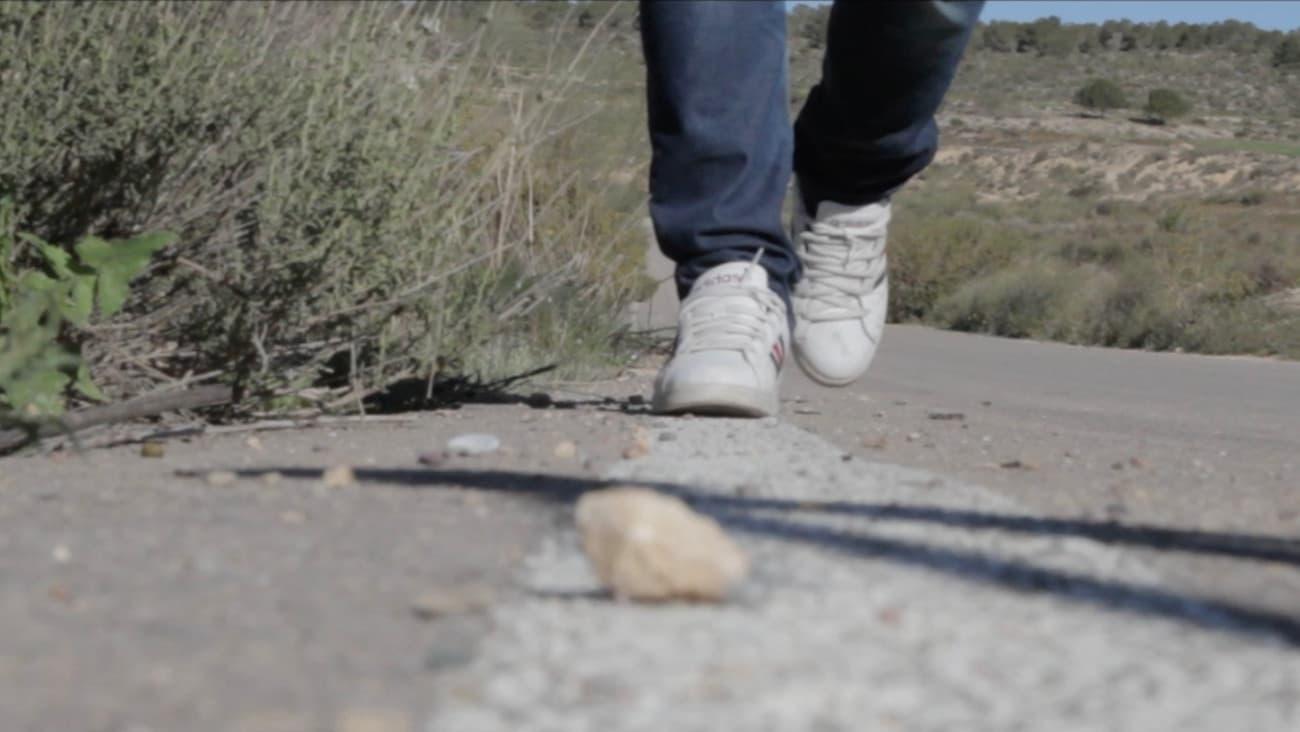 Piernas de una persona con zapatillas caminando por una carretera